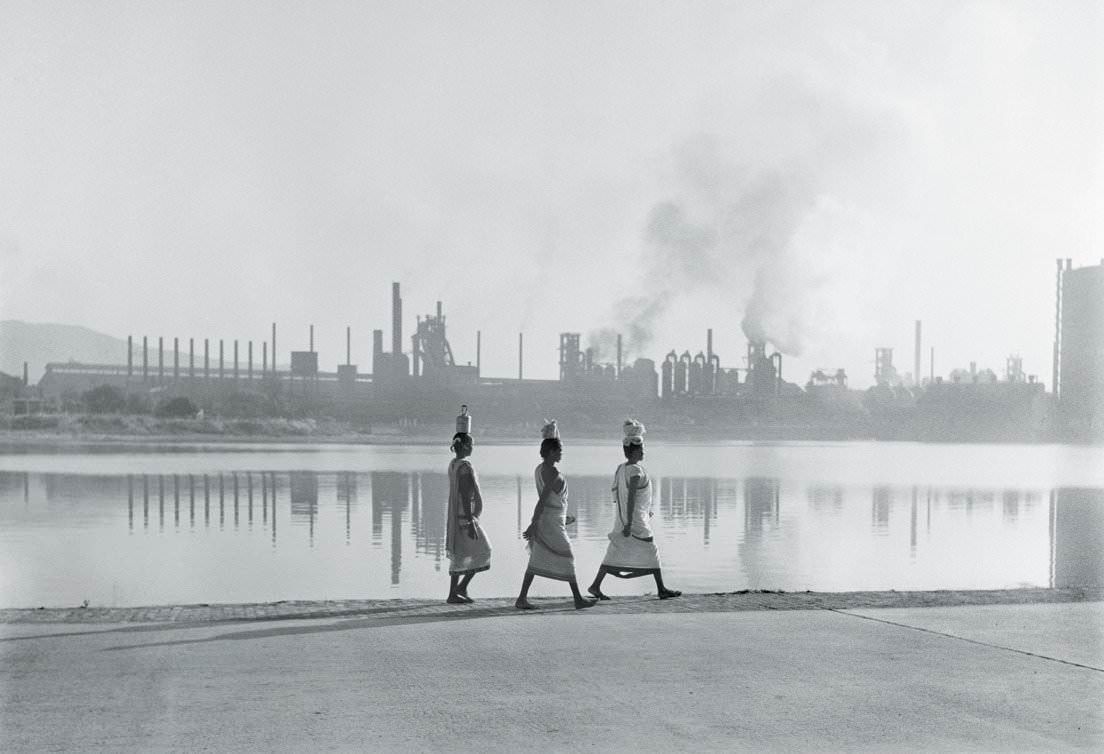 In front of the steelworks, Jamshedpur, India, 1951.