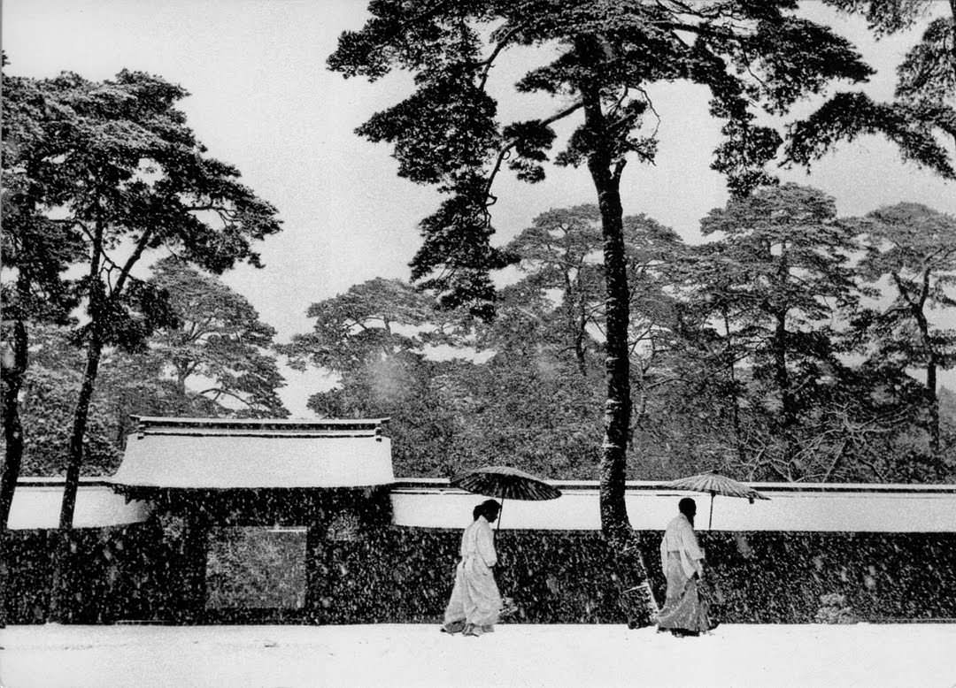In the garden of the Meiji temple, Japan, 1952.