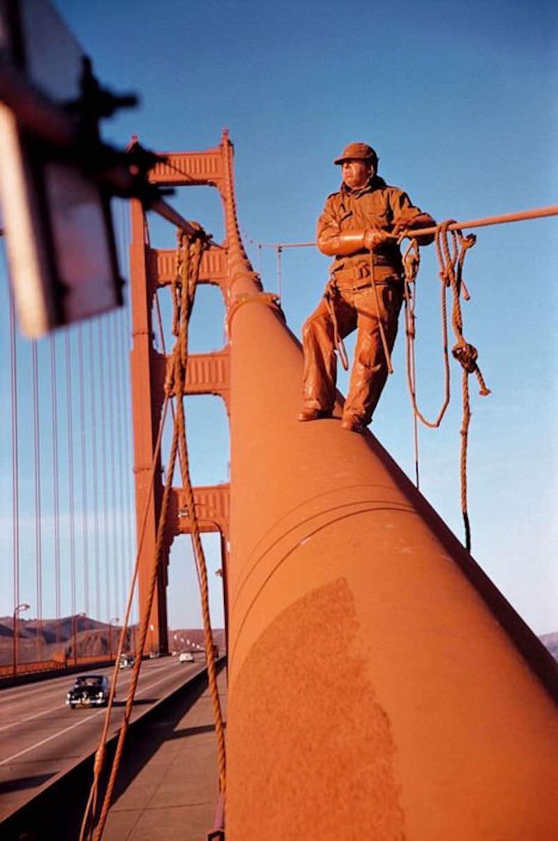 Painting the Golden Gate Bridge, San Francisco, 1953