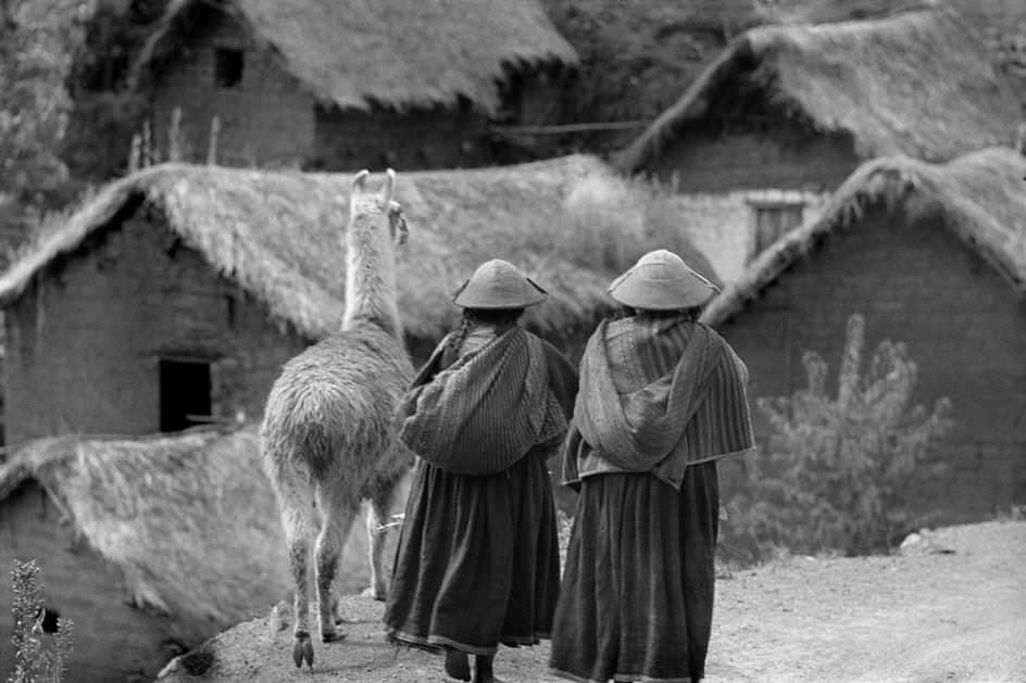 People with llama, Pisac, Peru, 1954.