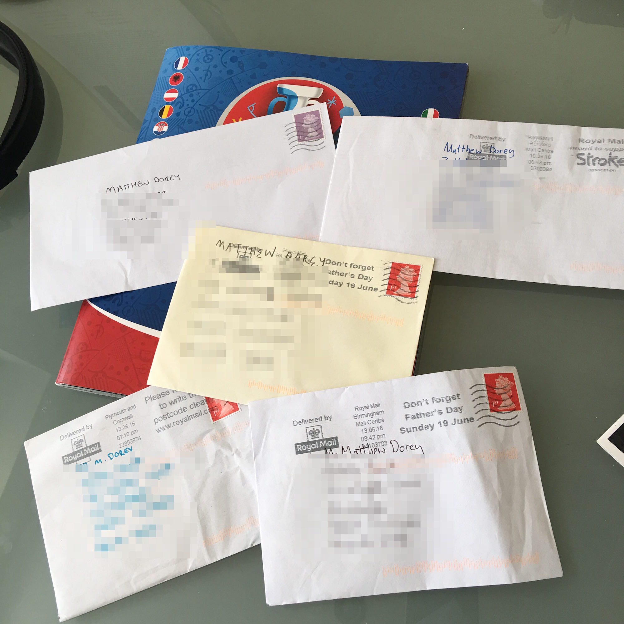 Envelopes containing swaps that have arrived in the post in recent days.